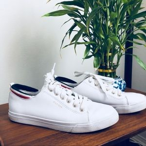 🐨 Hilfiger White Leather-look Tennis Sneakers